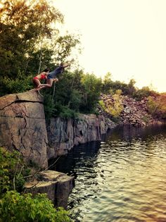 Cliff Jumping: Granite Quarry in St. Cloud, MN. Sun bathing on the rocks....
