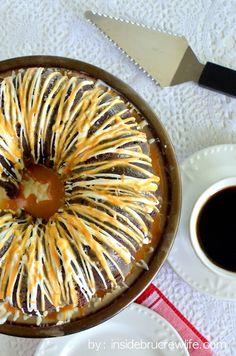 Salted Caramel Mocha Bundt Cake | Inside BruCrew Life - chocolate mocha cake topped with white chocolate and salted caramel topping #saltedcaramel #mocha