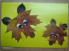 Fall Crafts-Would leaves dry out and fall apart? Use fabric leaves? What to do. This sure is cute.