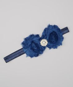 Take a look at the Charlotte Rose Couture Midnight Blue Rhinestone Shabby Flower Headband on #zulily today!