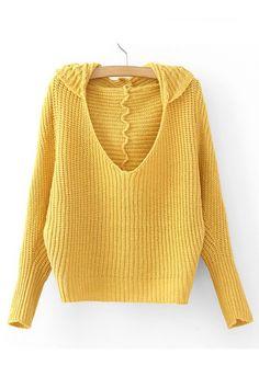 Bat sleeve V-neck hooded sweater