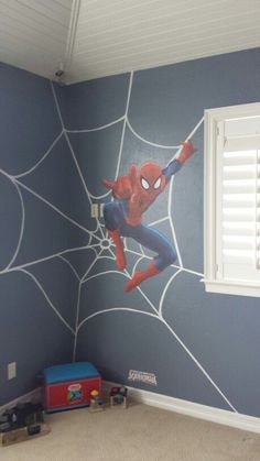 Boy's room, Tait's bedroom with Spiderman on the South and East wall - Visit to grab an amazing super hero shirt now on sale!