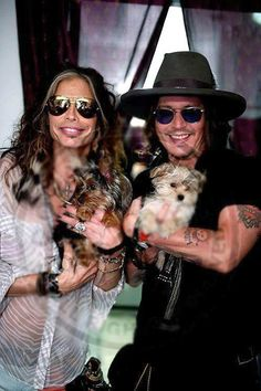 steven tyler and johnny depp with their doggies