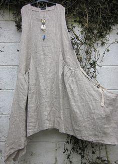 "Lagenlook: SARAH SANTOS LINEN MAXI DRESS mocha white oatmeal 42"" 50"" BNWT LAGENLOOK ETHNIC | eBay"
