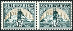 """Union of South Africa 1936 Scott 51 (SG dark green & gold """"Gold Mine"""" Photogravure; Union Of South Africa, Postage Stamps, Green And Gold, Vintage World Maps, African, Album, Cape, Gold Mine, Gold Gold"""