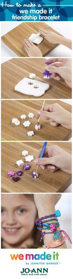 How to make a friendship bracelet // Kids Craft Ideas for Summer // Shop We Made It by Jennifer Garner on Joann.com