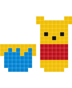 Winnie the Pooh pixel art! Pixel Art Templates, Perler Bead Templates, Motifs Perler, Perler Patterns, Beaded Cross Stitch, Cross Stitch Patterns, Pixel Art Minecraft, Art Canard, Image Pixel Art