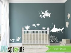 Under the sea Decal, Nemo inspired decal set, Ocean friends, Whale family, Nautical decal,  Modern Nursery, Nursery decals, Baby Decals,