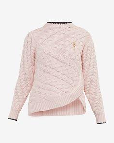 2c3d119bb Asymmetric cable knit sweater - Pale Pink