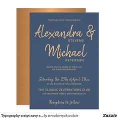 Typography script navy copper metallic wedding invitation