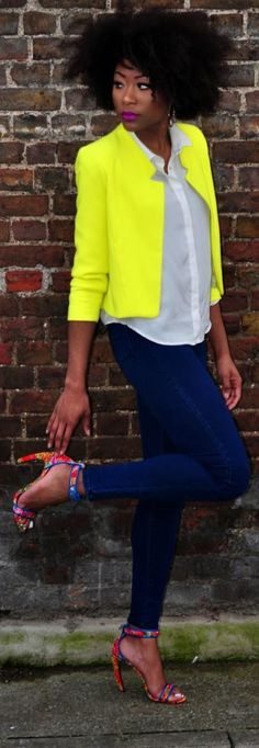 Bright yellow jacket blue skinnies white button down and floral heels
