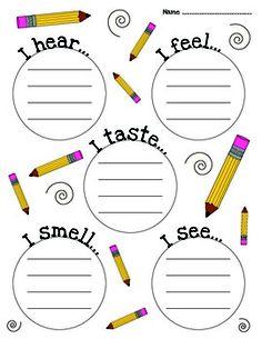 FREE Five Senses Brainstorm - sensory details Five Senses Preschool, My Five Senses, Senses Activities, Kindergarten Science, Teaching Science, Teaching Tips, Preschool Ideas, Creative Teaching, Student Teaching