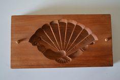 Kashigata sweets mold,hand carved, antique Japanese, 'sensu' fan by…