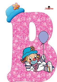 EUGENIA - KATIA ARTES - BLOG DE LETRAS PERSONALIZADAS E ALGUMAS COISINHAS: Alfabeto Patati e Patata Rosa Letter B, Alphabet Letters, Clown Party, School Frame, Send In The Clowns, Clowning Around, Circus Theme, Baby Shark, Letters And Numbers