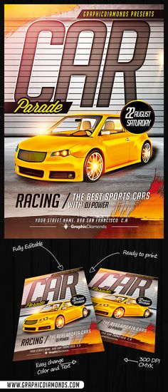 It's time to run and feel the adrenaline, Car Parade Flyer PSD is a perfect template for auto exhibition, competitions, drag racing and others.