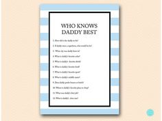 Who Knows Mommy Best Daddy Best How well do by MagicalPrintable