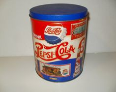 Vintage Look Metal Tin with Vintage 1909 to 1954 Pepsi-Cola Prints - Cool, Crafting, Container, Collectible Pepsi Cola, Coke, Vintage Marketplace, Coffee Cans, Container, Crafting, Soft Drink, Cobalt Blue, Metal