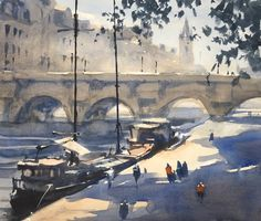 """Gary Tucker, """"Barges by the Seine"""""""