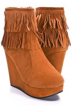 Tan booties with fringe $9.99 just order me some(: