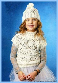 Озорные петельки: Ажурнай комплект (безрукавка,шапка) для девочки