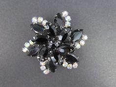 Authentic Confirmed Vintage Juliana D&E Black & AB Rhinestone Brooch Pin #Juliana