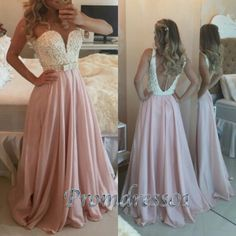 Modest prom dress, ball gown 2016, handmade rose pink chiffon beaded A-line long evening dress, unqiue formal party dress from #promdress01 #promdress http://www.promdress01.com/#!product/prd1/4272810175/rose-pink-chiffon-beading-a-line-long-prom-dresses