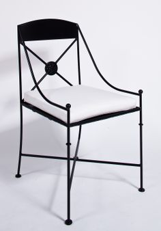 Bridgette Iron Chair -- I want these for dining chairs. Wrought Iron Bench, Outdoor Chairs, Outdoor Furniture, Metal Chairs, Dining Room Chairs, Chair Design, Upholstery, Sweet Home, Metal Bending