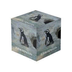 Shop P For Penguin Cube created by Babylandia. Photo Cubes, Images And Words, Penguins, Your Favorite, Bookends, Decorative Boxes, Display, Create, Wood