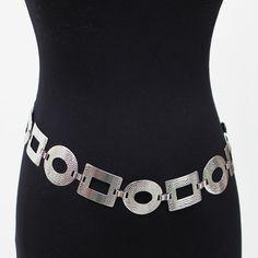 New Women Bling Fashion Circle Wide Chain Full Metal Hip Waist Belt Silver Gold