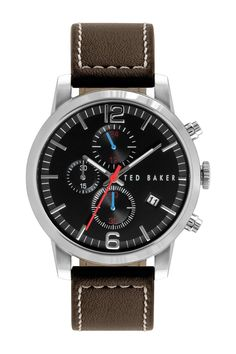 Ted Baker London | Men's Leather Strap Chronograph Quartz Classic Watch | Nordstrom Rack