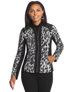 Chico's Jacquard Leopard and Lace Jacket #chicos