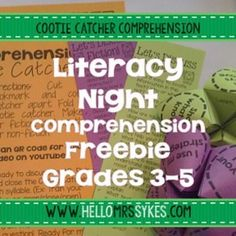 Literacy Night or Parent Night - Make and Take freebie! Cootie Catchers for… Comprehension Activities, Reading Activities, Literacy Activities, Literacy Centers, Reading Games, Reading Lessons, Reading Resources, Reading Strategies, Reading Comprehension