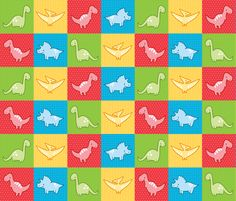 Dinosaurs cheater quilt red fabric by petitspixels on Spoonflower - custom fabric