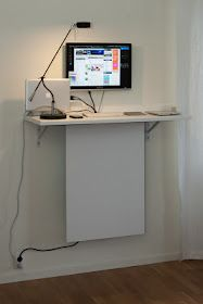 """How To: Standing desk with """"invisible"""" data storage."""