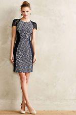 $158 nwot MOULINETTE SOEURS tweed splice sheath dress blue ivory lace+boucle 0P