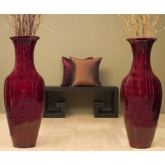 Add a dramatic pop of exotic beauty to any room with this smooth bamboo vase. Lightweight for easy relocation, this floor vase is a great way to add much need…