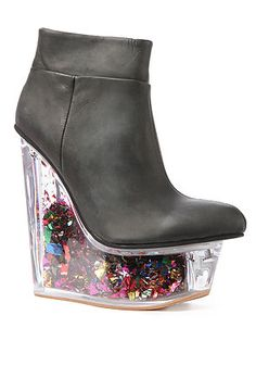 Party Shoes - You will definitely become the talk of the party when wearing 'The Icy Star Platform' by Jeffrey Campbell. With a suspended toe and con. Crazy Shoes, Me Too Shoes, Weird Shoes, Wedge Boots, Shoe Boots, Catty Noir, Ugly Shoes, Toe Shoes, Glitter Fashion