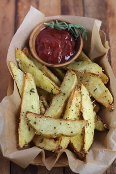 Parmesan Rosemary Oven Fries. These are SO good. I mixed a little horseradish sauce with the olive oil, and was generous with the FRESH rosemary and parm.! Heaven! The last 10 minutes I had to cover them with foil.