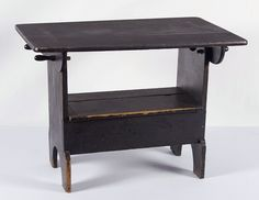 PENNSYLVANIA HUTCH TABLE IN BLACK PAINT WITH OUTSTANDING SURFACE, ca 1850