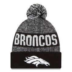 5d6f9daa8 Men s Denver Broncos New Era Black White Sport Knit Hat Denver Broncos  Gear