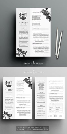 Resume Template 5 page pack Resume Design Template, Cv Template, Resume Templates, Cover Letter Template, Letter Templates, Cv Design, Page Design, Resume Tips, Resume Ideas