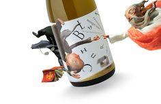 Curioso diseño de etiqueta para botella de #vino #packaging