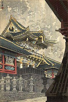 "Japanese Art Print ""Yomei Gate in Drizzling Rain"" by Kasamatsu Shiro. Shin Hanga and Art Reproductions http://www.amazon.com/dp/B00XTGHB90/ref=cm_sw_r_pi_dp_G7.swb10EFRQA"