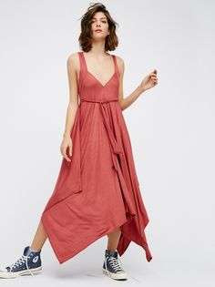 Ella Midi Dress | Made from our Beach jersey fabric this flowy midi dress features an uneven hem with a V-neckline in front and low V in back. Adjustable tie wrap.