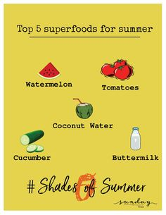 Keep yourself hydrated and glowing with these superfoods. Stay tuned for best tips and tricks to overcome heat pangs and keep your skin glowing. #Day2 #50shadesofsummer #summertips #skincaretips #sundaythespa #superfoodforskin #summercare #glowingskin