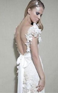 Dany Mizrachi Haute Couture 2012 So couture and dreamy. Fancy Wedding Dresses, White Satin, Wedding Inspiration, Wedding Ideas, Dressmaking, Wedding Styles, Bridal Gowns, High Fashion, Flower Girl Dresses
