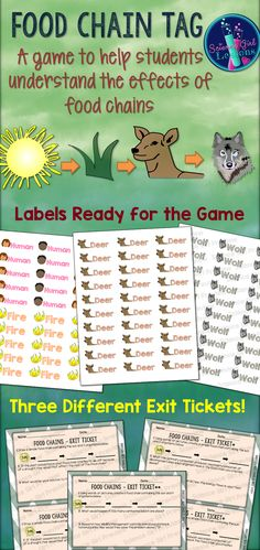 Looking for a fun, creative way to help your students understand food chains? This is a simple twist on the game of tag to help all types of learners. The game not only explains the basic functions of a food chain, but explores the effects of over and under populations of organisms. This game can be played either indoors or outdoors, and also includes 3 different exit slips to give your lesson closure and differentiation. ($) #TpT #Teacherspayteachers #Foodchains #Science #LifeScience