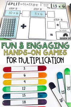 If you are looking for hands-on Multiplication and Division activities to use with your 3rd grade or 4th grade students, you will love my activities and games bundle! This comprehensive resource will provide your students with hands-on, differentiated activities that will build their multiplication and division skills, strategies, and fluency. These printable activities are perfect for whole class or math center activities. Teaching Math, Teaching Resources, Teaching Ideas, Division Activities, Math Activities, Primary Maths, Primary Classroom, Professional Development For Teachers, Rainbow Sky