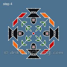 This page provides Dot Rangoli Designs with title Dot Rangoli 9 for Hindu festivals.