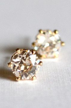 Old European cut cubic zirconia stud earrings